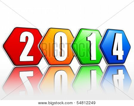 New Year 2014 On Pied Hexagons Arranged
