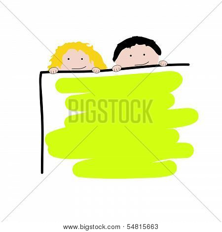 Children With School Board Vector Illustration