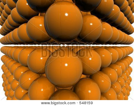 Orange Dual 3d Orb Field With Bump Texture
