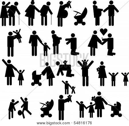 Icons set people and family in black 2