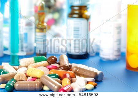 Medications-pills capsules and bottles
