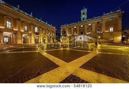 Piazza Del Campidoglio On Capitoline Hill With Palazzo Senatorio And Equestrian Statue Of Marcus Aur