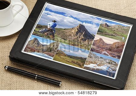 reviewing hiking pictures on a digital tablet, Eagle Nest Open Space in northern Colorado, all displayed pictures copyright by the photographer