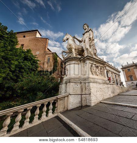 Statue Of Castor At The Cordonata Stairs To The Piazza Del Campidoglio Square At The Capitoline Hill