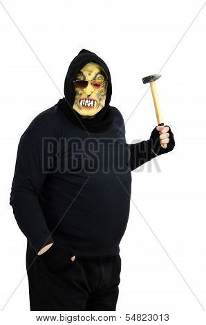 Maniac In A Mask Waves A Hammer