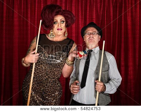 Surprised Pool Player With Drag Queen