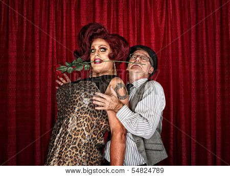 Dramatic Drag Queen With Man