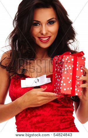 Santa Helper Girl On White Background With Long Hair And Red Gift Box