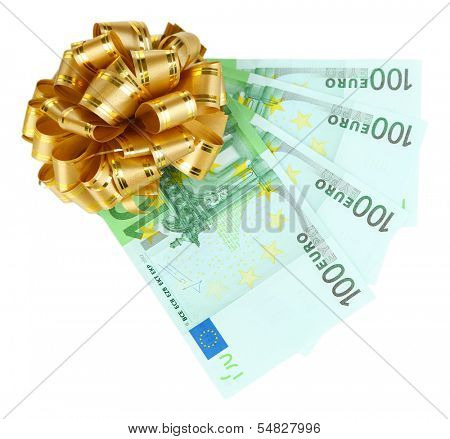 Euro banknotes with bow isolated on white