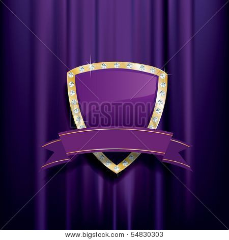 golden purple shield with diamonds and blank banner