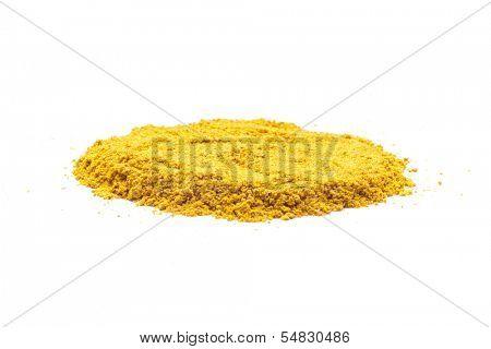 Pile of Turmeric (Curcuma) Powder Isolated on White Background