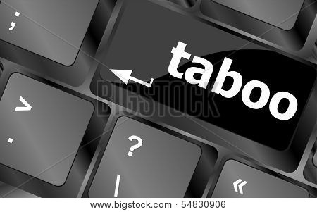 Computer Keys Spell Out The Word Taboo