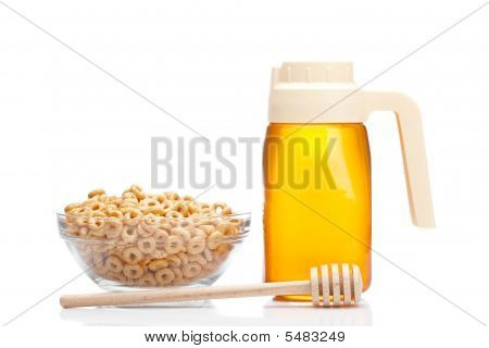 Honey Pitcher And Bowl Of Cheerios