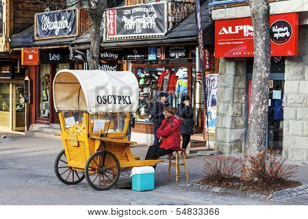 Selling Cheese At Krupowki Street In Zakopane