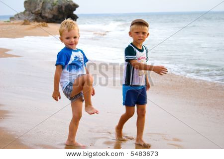 Little Boys On Seacoast.