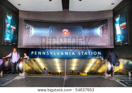 Entrance To Penn Station In New York City