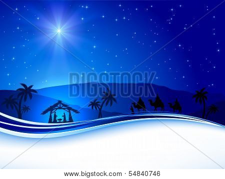 Christmas scene on sky background