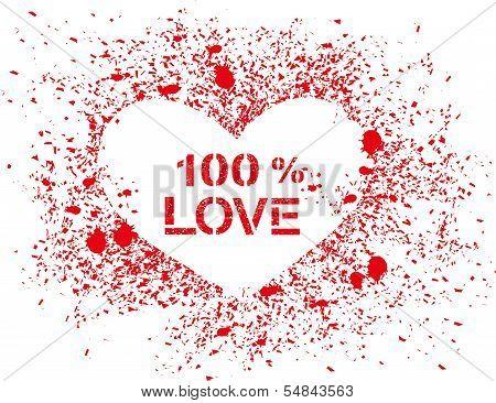Vector sprayed heart with text