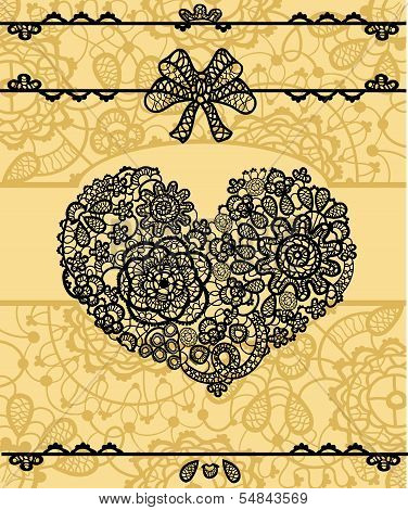 Vector card with vintage lace heart
