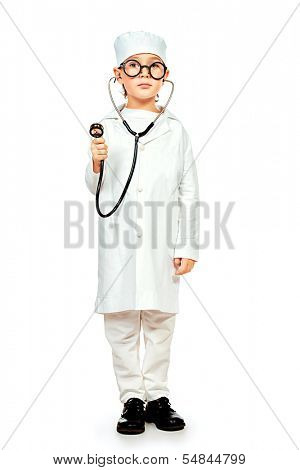 Full length portrait of cute smiling boy playing a doctor. Different occupations. Isolated over white.