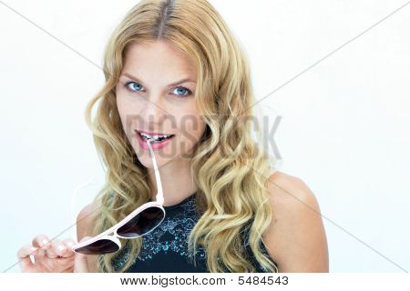 Blond Girl Winking
