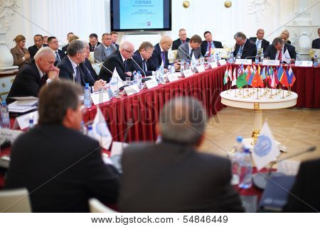 MOSCOW - OCT 10: Representatives of the International Congress of Industrialists and Entrepreneurs, on October 10, 2013 in Moscow, Russia.