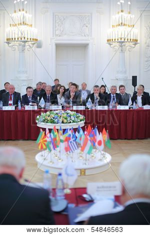 MOSCOW - OCT 10: Delegates to the 10th International Congress of Industrialists and Entrepreneurs, on October 10, 2013 in Moscow, Russia.