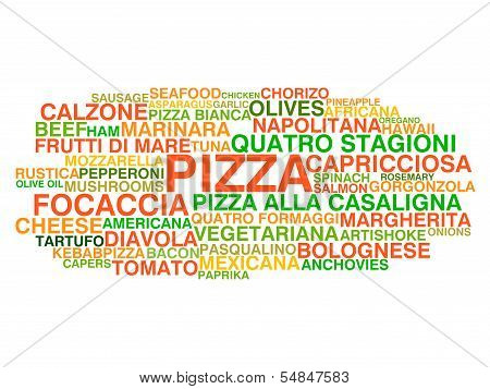 Traditional Italian Pizza Types. Word Cloud Concept