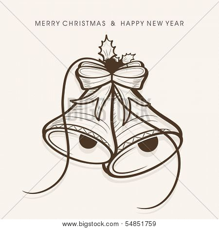 Merry Christmas celebration greeting card or invitation card with jingle bells on abstract background.