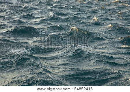 Waves of the stormy sea