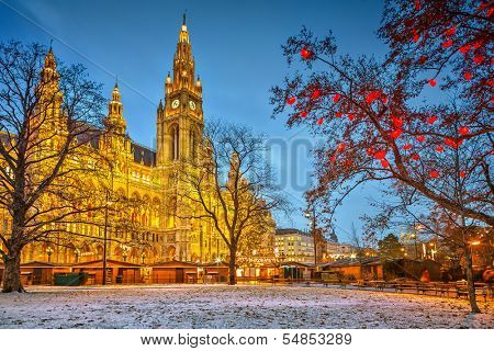 Vienna Town Hall at dusk