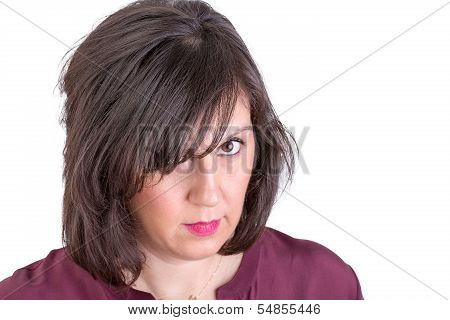 Middle Aged Woman Giving You Very Analyitcal Look