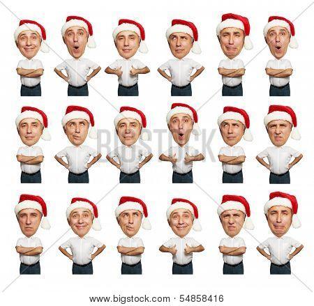 collage of funny bighead senior men in santa hat over white background