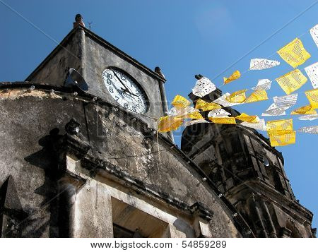 Church in Mexico Tepoztlan tradition party with papel picado