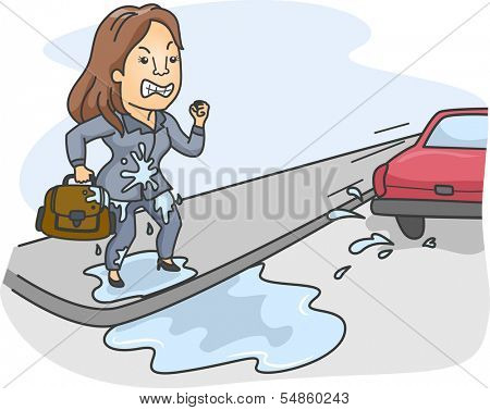 Illustration of a Woman Pissed Off at the Driver Who Splashed Water All Over Her