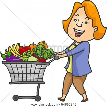 Illustration of a Woman Pushing a Shopping Cart Filled with Fruits and Vegetables