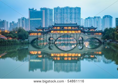 Chinese Anshun Bridge At Dusk