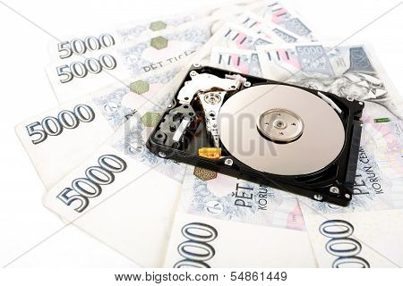 The Open Hard Disk, With Czech Money Banknotes