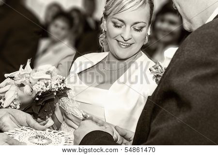 Groom Happy Putting Ring On Smiling Pretty Woman Bride's Finger
