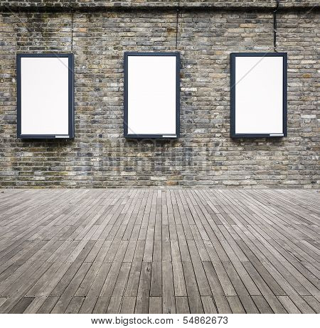Three Blank Advertising Light Box On The Wall