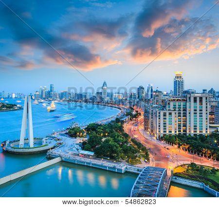 Beautiful Shanghai Bund With Sunset Glow