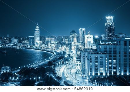 Aerial View Of Shanghai Bund At Night