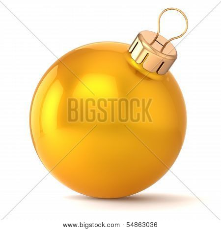 Christmas ball New Years Eve bauble decoration gold yellow golden wintertime ornament