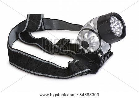 Super Bright Led Headlamp Isolated On White Background