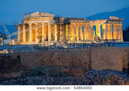 Parthenon On The Acropolis In Athens