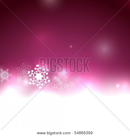 Purple Christmas lights and snowflakes. Elegant abstract background with bokeh lights and stars