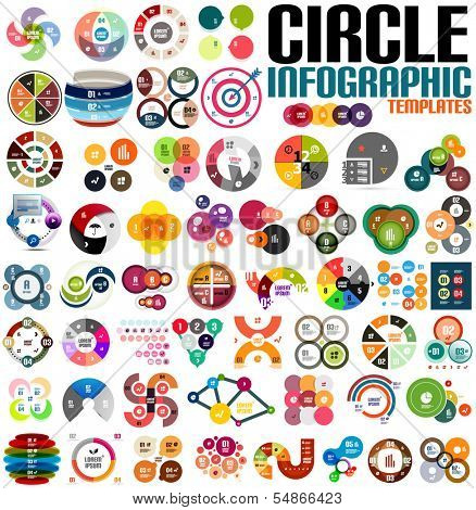 Huge modern circle infographic design template set. For banners, business backgrounds, presenations