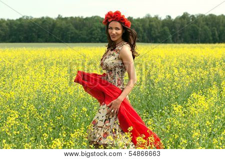 Beautiful Young Brunette Girl Wearing Flower Chaplet In Summer Filed