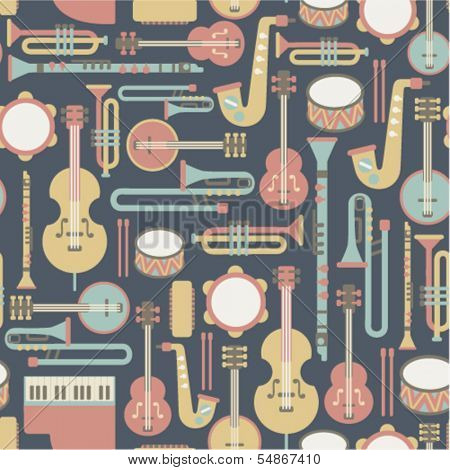 seamless pattern with music instruments. on dark background