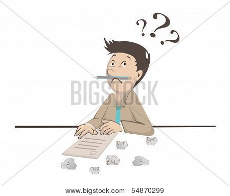 Man With Question Mark Over Head